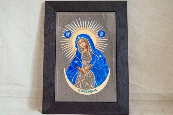 Икона Остробрамской Божией Матери № 08 из мрамора, камня, изображение, фото 5