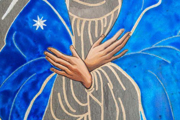 Икона Остробрамской Божией Матери № 08 из мрамора, камня, изображение, фото 3