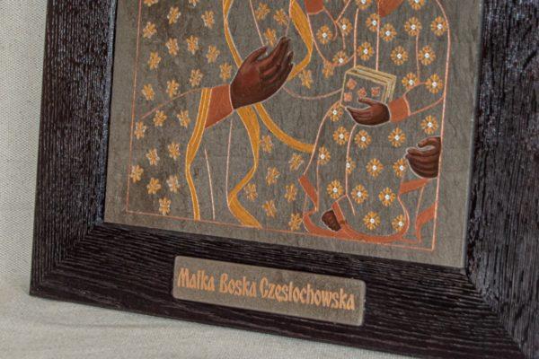 Икона Ченстоховской Божией Матери № 05 из мрамора, каталог икон, изображение, фото 3