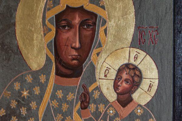 Икона Ченстоховской Божией Матери № 05 из мрамора, каталог икон, изображение, фото 2