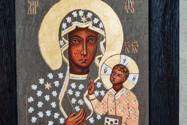 Икона Ченстоховской Божией Матери № 06 из мрамора, каталог икон, изображение, фото 1