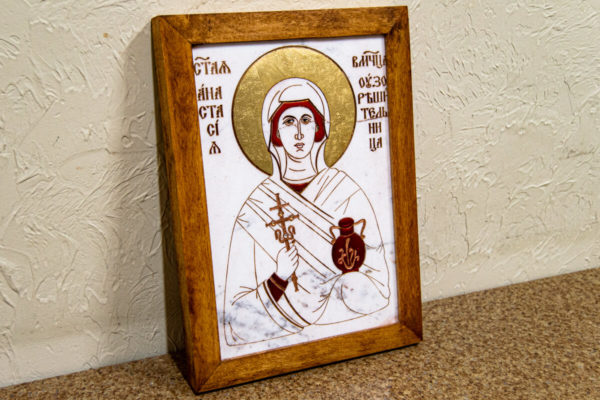 Икона Святой великомученицы Анастасии Узорешительницы № 1 из мрамора, камня, изображение, фото 3