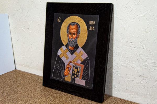 Икона Николая Чудотворца (Угодника) № 1 в технике под старину из мрамора, камня, изображение, фото 5