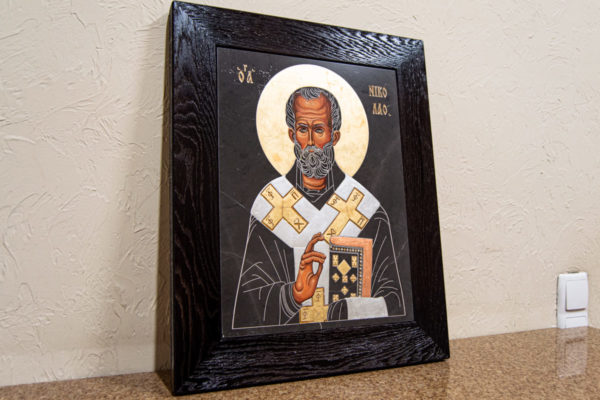Икона Николая Чудотворца (Угодника) № 1 в технике под старину из мрамора, камня, изображение, фото 4