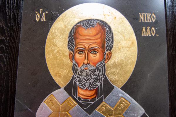Икона Николая Чудотворца (Угодника) № 1 в технике под старину из мрамора, камня, изображение, фото 3