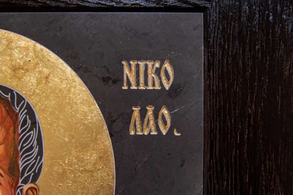 Икона Николая Чудотворца (Угодника) № 1 в технике под старину из мрамора, камня, изображение, фото 2
