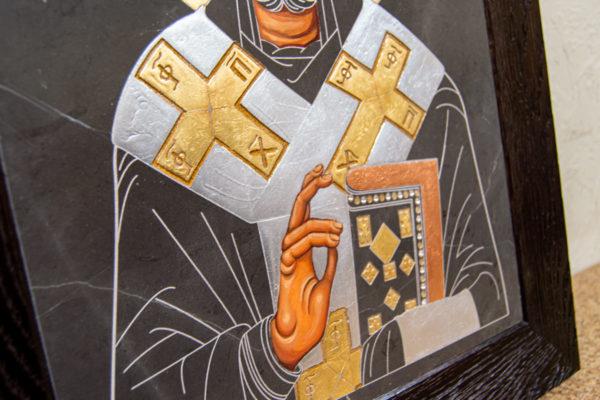 Икона Николая Чудотворца (Угодника) № 1 в технике под старину из мрамора, камня, изображение, фото 1