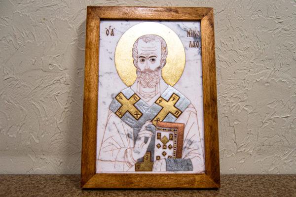 Икона Николая Чудотворца (Угодника) № 22 из мрамора, камня, изображение, фото 6