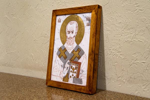 Икона Николая Чудотворца (Угодника) № 22 из мрамора, камня, изображение, фото 5