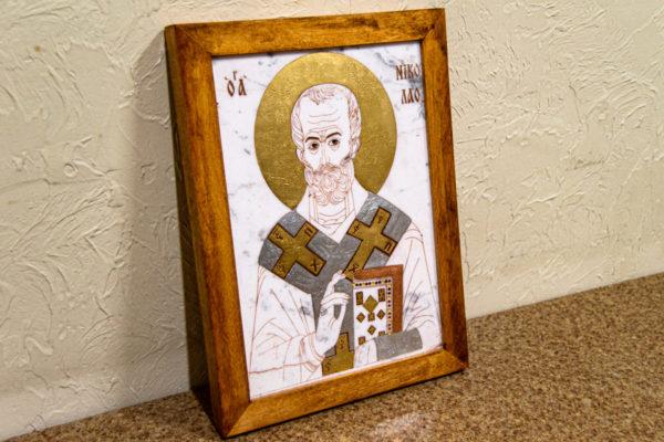 Икона Николая Чудотворца (Угодника) № 22 из мрамора, камня, изображение, фото 4