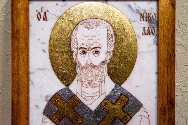 Икона Николая Чудотворца (Угодника) № 22 из мрамора, камня, изображение, фото 3