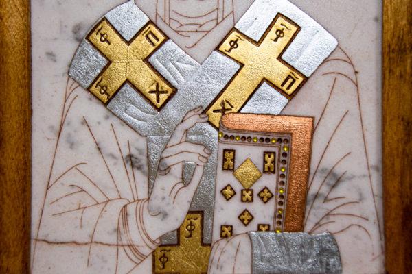 Икона Николая Чудотворца (Угодника) № 22 из мрамора, камня, изображение, фото 1