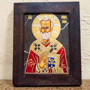 Икона Николая Чудотворца (Угодника) № 23 из мрамора, камня, изображение, фото 3