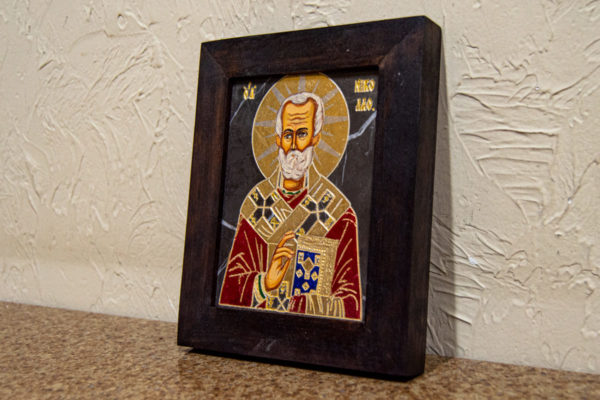 Икона Николая Чудотворца (Угодника) № 23 из мрамора, камня, изображение, фото 2