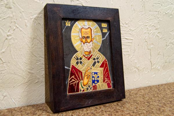 Икона Николая Чудотворца (Угодника) № 23 из мрамора, камня, изображение, фото 1