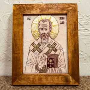 Икона Николая Чудотворца (Угодника) № 24 из мрамора, камня, изображение, фото 3