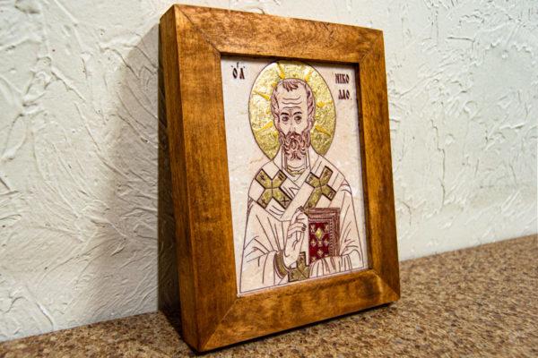 Икона Николая Чудотворца (Угодника) № 24 из мрамора, камня, изображение, фото 1