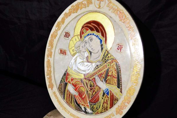 Икона Жировицкой (Жировичской) Божией Матери № 03 из мрамора, камня, изображение, фото 5