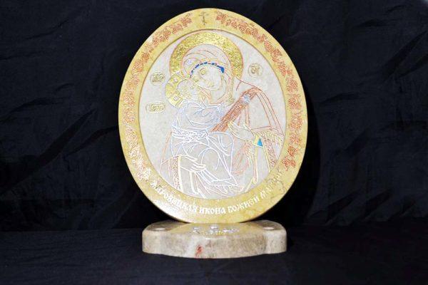 Икона Жировицкой (Жировичской) Божией Матери № 20 из мрамора, камня, изображение, фото 2