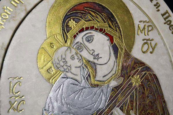 Икона Жировицкой (Жировичской) Божией Матери № 21 из мрамора, камня, изображение, фото 1