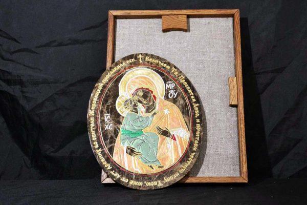 Икона Жировицкой (Жировичской) Божией Матери № 008 из мрамора, камня, изображение, фото 1
