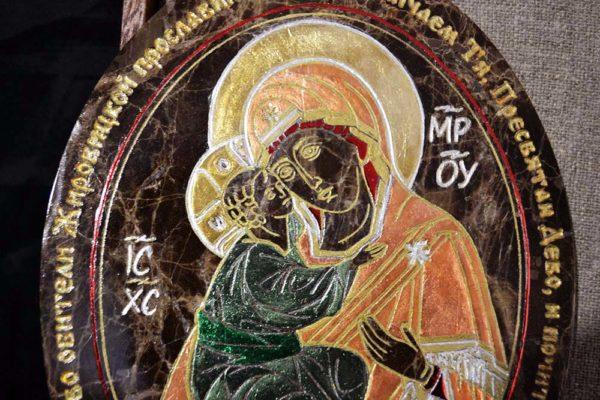 Икона Жировицкой (Жировичской) Божией Матери № 008 из мрамора, камня, изображение, фото 2