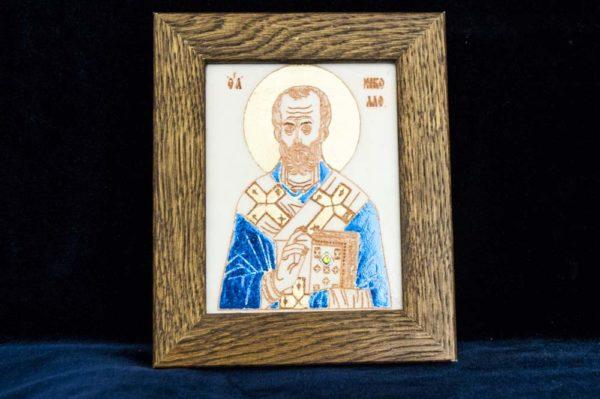 Икона Николая Чудотворца (Угодника) № 1 из мрамора, камня, изображение, фото 1