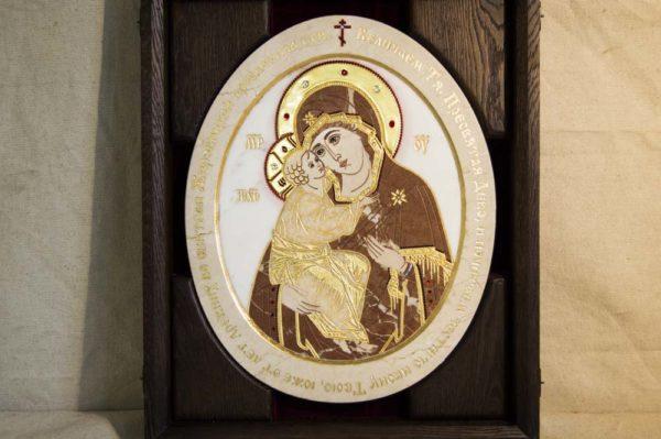 Икона Жировицкой (Жировичской) Божией Матери № п-22 из мрамора, камня, изображение, фото 3