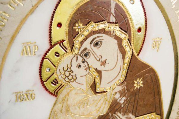 Икона Жировицкой (Жировичской) Божией Матери № п-22 из мрамора, камня, изображение, фото 1