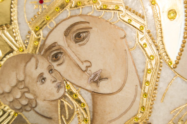 Икона Жировицкой (Жировичской) Божией Матери № п-10 из мрамора, камня, изображение, фото 5