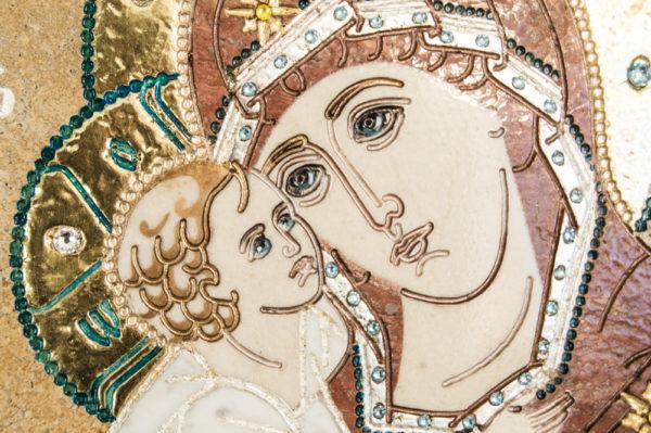Икона Жировицкой (Жировичской) Божией Матери № п-12 из мрамора, камня, изображение, фото 6