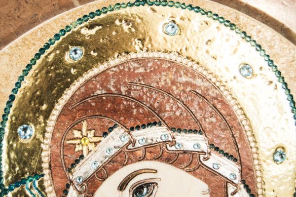 Икона Жировицкой (Жировичской) Божией Матери № п-12 из мрамора, камня, изображение, фото 1