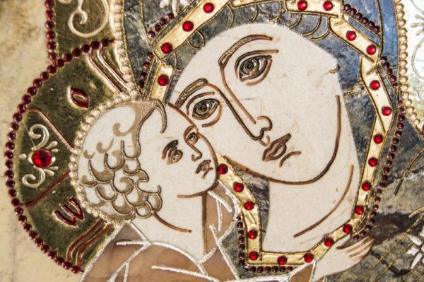 Икона Жировицкой (Жировичской) Божией Матери № п-13 из мрамора, камня, изображение, фото 2