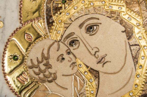 Икона Жировицкой (Жировичской) Божией Матери № п-14 из мрамора, камня, изображение, фото 6