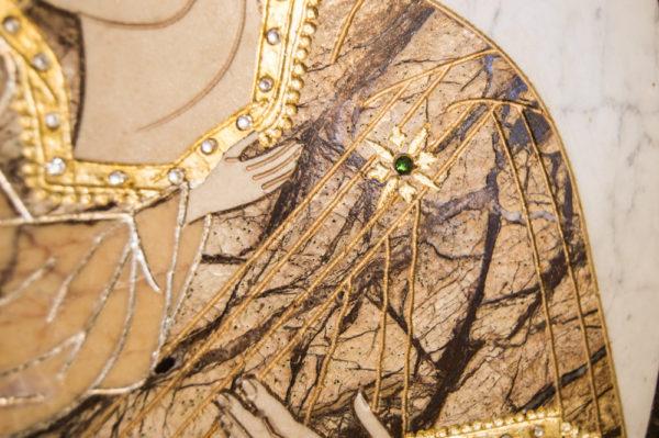 Икона Жировицкой (Жировичской) Божией Матери № п-14 из мрамора, камня, изображение, фото 3