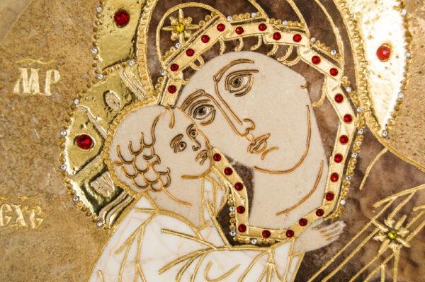 Икона Жировицкой (Жировичской) Божией Матери № п-15 из мрамора, камня, изображение, фото 3