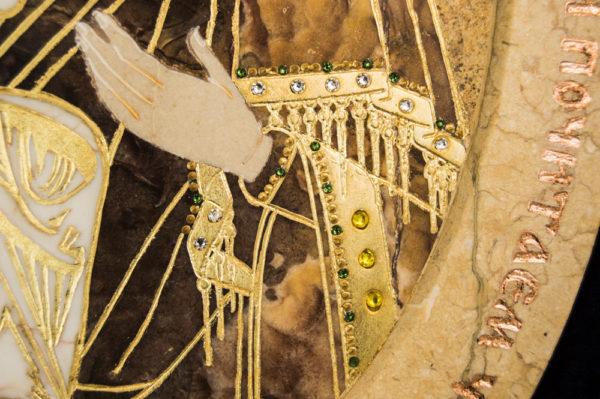 Икона Жировицкой (Жировичской) Божией Матери № п-15 из мрамора, камня, изображение, фото 5