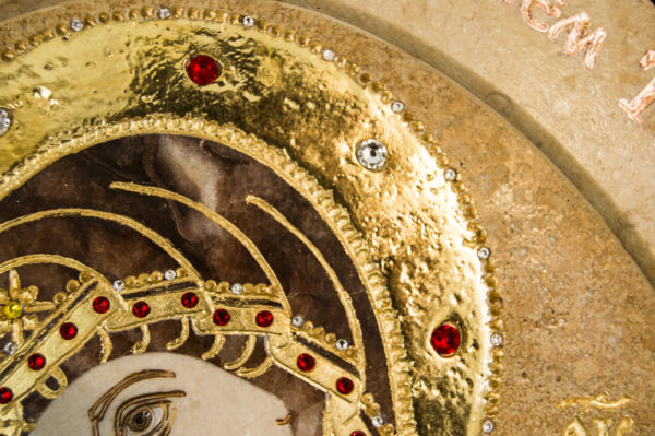 Икона Жировицкой (Жировичской) Божией Матери № п-15 из мрамора, камня, изображение, фото 1
