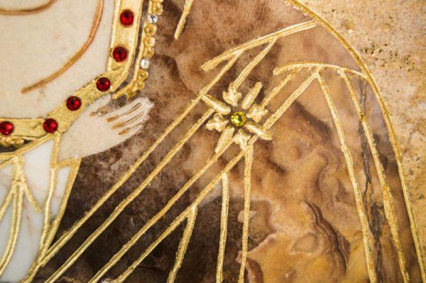 Икона Жировицкой (Жировичской) Божией Матери № п-15 из мрамора, камня, изображение, фото 4