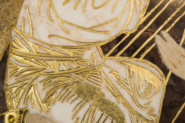 Икона Жировицкой (Жировичской) Божией Матери № п-15 из мрамора, камня, изображение, фото 2
