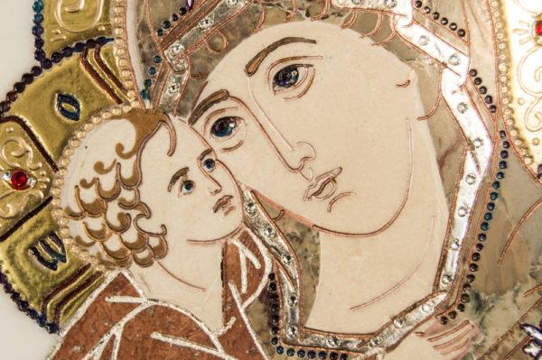 Икона Жировицкой (Жировичской) Божией Матери № п-18 из мрамора, камня, изображение, фото 2