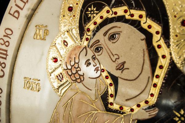 Икона Жировицкой (Жировичской) Божией Матери № п-19 из мрамора, камня, изображение, фото 7