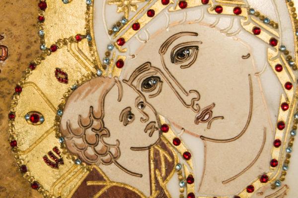 Икона Жировицкой (Жировичской) Божией Матери № п-20 из мрамора, камня, изображение, фото 1