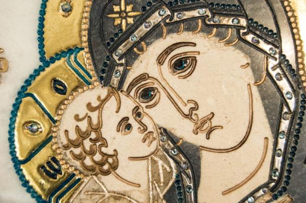 Икона Жировицкой (Жировичской) Божией Матери № п-21 из мрамора, камня, изображение, фото 2