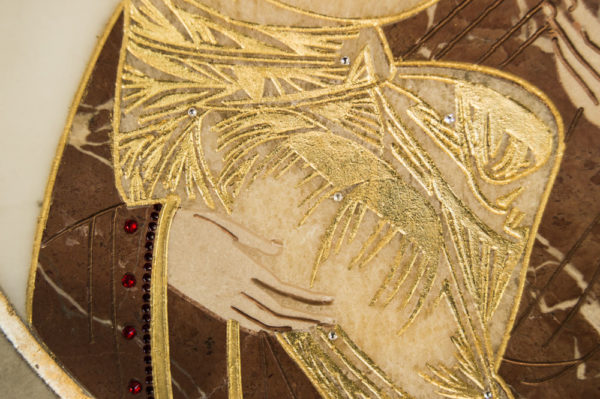 Икона Жировицкой (Жировичской) Божией Матери № п-22 из мрамора, камня, изображение, фото 4