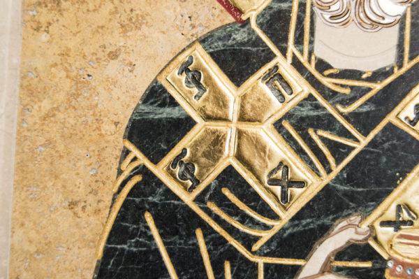 Икона Николая Чудотворца (Угодника) инд.№ 05 из мрамора, камня, изображение, фото 6