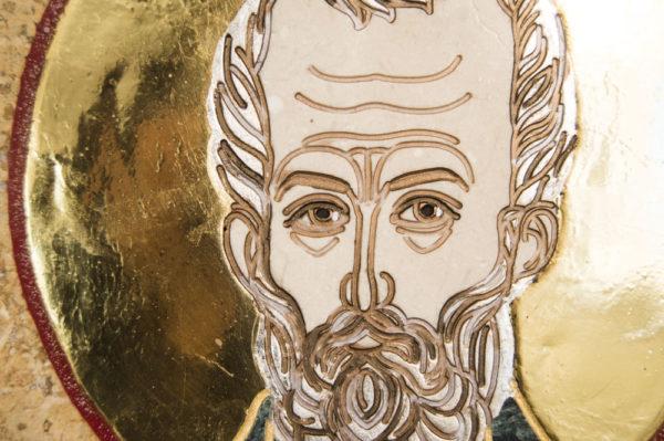 Икона Николая Чудотворца (Угодника) инд.№ 05 из мрамора, камня, изображение, фото 1
