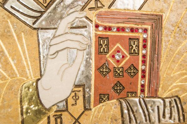 Икона Николая Чудотворца (Угодника) инд.№ 06 из мрамора, камня, изображение, фото 4