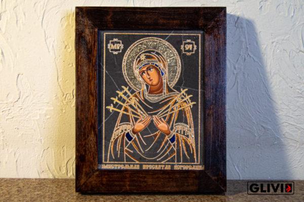 Икона Божией Матери Семистрельной № 1 из камня, камня, изображение, фото 2