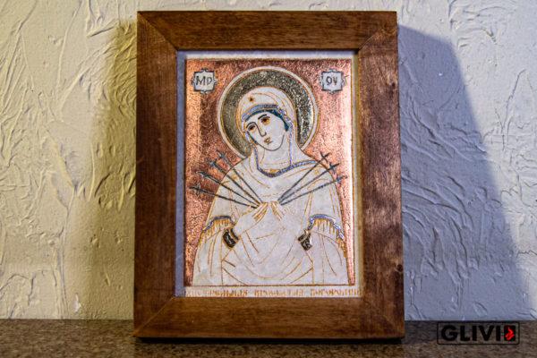 Икона Божией Матери Семистрельной № 2 из камня, камня, изображение, фото 3